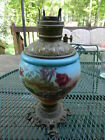 Genuine Antique Vintage Table Gas Parlor Light Lamp Brass Base Floral Body