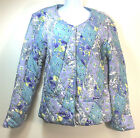 April Cornell Quilted Jacket S Floral Patchwork Rayon Purple Aqua Lined