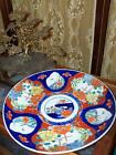 Antique Early Imari Charger Hand Painted Out of Round Floral Moths Butterflies
