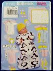 Butterick Baby Bunting Diaper Cover Blanket Bib Sewing Pattern 5583 Infant LXL