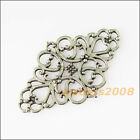 6 New Oval Flowers Connectors Tibetan Silver Tone Charms Pendants 29x40mm