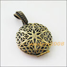 1 New Charms Antiqued Bronze Flower Round Picture Locket Frame Pendants 27x32mm