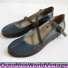 Chinese Laundry BLUE MARY JANE SHOES Ballet Flats Velcro Brown Sz 385 75 7 1 2