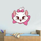 Full Color Wall Decal Sticker Cute Modern Animal Head Cat Kitty Bow Col669