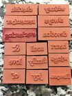 Lot Of 15 Foam Rubber Stamps Words Sayings Love Soul Family