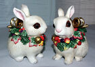 Fitz & Floyd Snowy Woods Christmas Bunny Rabbit Covered Dish Bowl Trinket Box