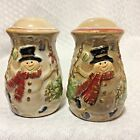 Smiling SNOWMAN Salt Pepper SHAKERS Snowflake Top Hat Scarf Evergreen Gifts