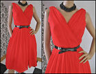 Vintage 50s 60s Bright RED Silk CHIFFON Cocktail PARTY DRESS Full Skirt SIZE S