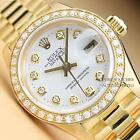 ROLEX LADIES WHITE DIAMOND DIAL DATEJUST PRESIDENT 18K YELLOW GOLD  WATCH