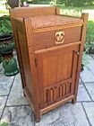 Antique Limbert Style Arts  Crafts Bedside Table Cabinet Pink Marble Top