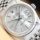 MENS ROLEX SILVER DIAL DATEJUST OYSTER PERPETUAL 18K WHITE GOLD/SS WATCH