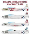 Caracal Models 1/48 decal CD48123 USAF Early T-33A for Great Wall Hobby
