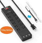12AC Outlet Power Strip with 3 Smart USB Ports Multi Heavy Duty Surge Protector