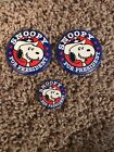 Vintage Peanuts Snoopy for President Button Pin Blue Red White Lot Of 3