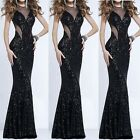Women Black Formal Wedding Bridesmaid Evening Party Long Ball Prom Gown Dress