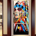 Native American Girl Feathered Women Modern Home Wall Decor Canvas Picture Art