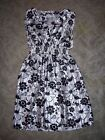 Derek Heart Womens size S Black  Silver Floral Summer V Neck Empire Dress