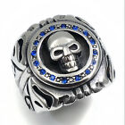 Mens Stainless Steel Ring Gothic Skull Sapphire Blue Red Czs Biker Jewelry