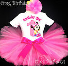 Pink Baby Minnie Mouse 1st First Baby Birthday Tutu Outfit Shirt Set Girl