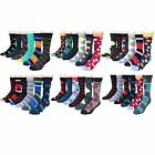Mens Premium Cotton Blend Colorful Patterned Dress Casual Socks 12 Pairs