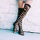 Womens Stretch Over The Knee Thigh High Gladiator Flat Sandal Boot Peep Open Toe