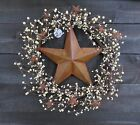 Primitive Wreath Rusty Star Cream Ivory Pip Berries Mini Stars 18