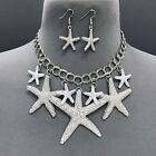 Silver Finished Different Sized Starfish Design Charms Necklace