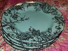 222 fifth Spring turquoise Silver Adelaide metallic Birds 6 dinner plates NEW
