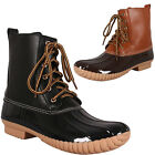 New Womens Lace Up Pull On Duck Wellies Rain Boot Ankle Booties Shoes Waterproof