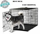Dog Crate Kennel 48 Folding Metal Cage Extra Large 2 Metal Doors ABS Tray XXXL