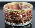 New Textured Glitter Brown Gold Copper Silver 18 Piece Alloy Bangles Gift Set