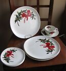 LOT Crooksville USA Iva-lure Dinner Cup Saucer Plates-Flamingo Red Hibiscus