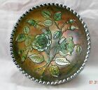 Imperial Glass LUSTER ROSE BOWL Green glass with Rose Red and Gold Irridescent