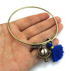 BB6 Bronze Sail Anchor Oysters Pearl Cage Cotton Tassel Bangle Bracelet Copper
