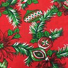 Vintage Christmas Tablecloth Red Green Holly Pine Ornaments Candy Cane 72 x 44