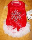 Dog Size XXS Holiday Time 9 12 Red  White Bling Dress Chihuahua Etc