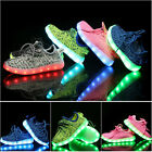 Kids Boys Girls LED Light Up Sneakers Flat USB Charger Shoes Trainers Luminous