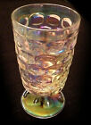 6 Vintage Iridescent Thumbprint Federal Glass Footed Tumblers Set of Six (6) 8oz