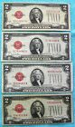 1928 D, F & G's (4)-Notes $2 Red Seal US Note Two Dollar Bill - Lot #2