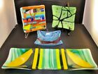 Bright Colorful Fused Glass Art Tray Dish Trivet Bowls Signed Chris Conley 2016