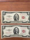 $2 Dollar Red Seal. Two of them. 1953 and 1953A. Circulated.