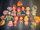VINTAGE STRAWBERRY SHORTCAKE LOT OF 9 DOLLS WITH CLOTHING AS IS