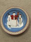 Sakura Debbie Mumm Christmas Snowman Chop/Serving Plate, Blue, White and Red