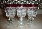 Set of 6 Mount Vernon Cranberry Ruby Flash Wine Stemware Glasses Indiana Glass