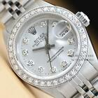 LADIES ROLEX SILVER DIAMOND DIAL DATEJUST OYSTER PERPETUA18K WHITE GOLD/SS WATCH