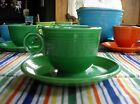 Vintage Fiesta MEDIUM GREEN Tea Cup + Saucer ~