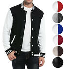 New Mens Premium Classic Snap Button Vintage Baseball Letterman Varsity Jacket