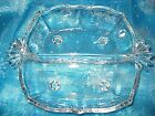 Vintage Pressed Glass Beautiful Elegant  Style Divided Clear Glass Serving Dish