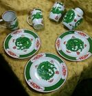 Fitz & Floyd Dragon Crest green 7 pcs: 3 plates, 3 mugs plus small ginger jar