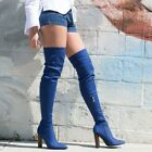 New Women Blue Denim Fitted Pointy Toe Chunky Heel Over The Knee Thigh High Boot